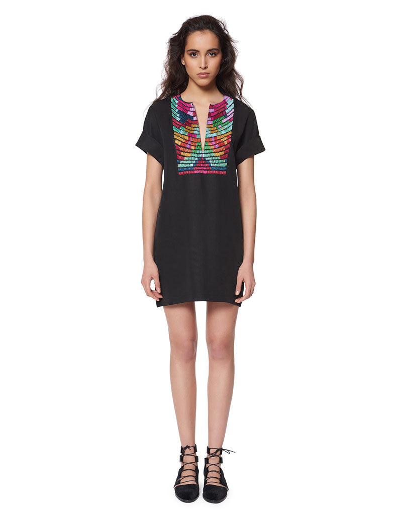 Mara Hoffman Radial Embroidered Tunic Dress in Black Multi - SWANK - Dresses - 1