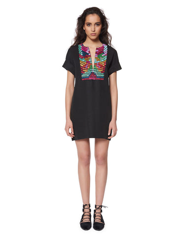 Mara Hoffman Radial Embroidered Tunic Dress in Black Multi