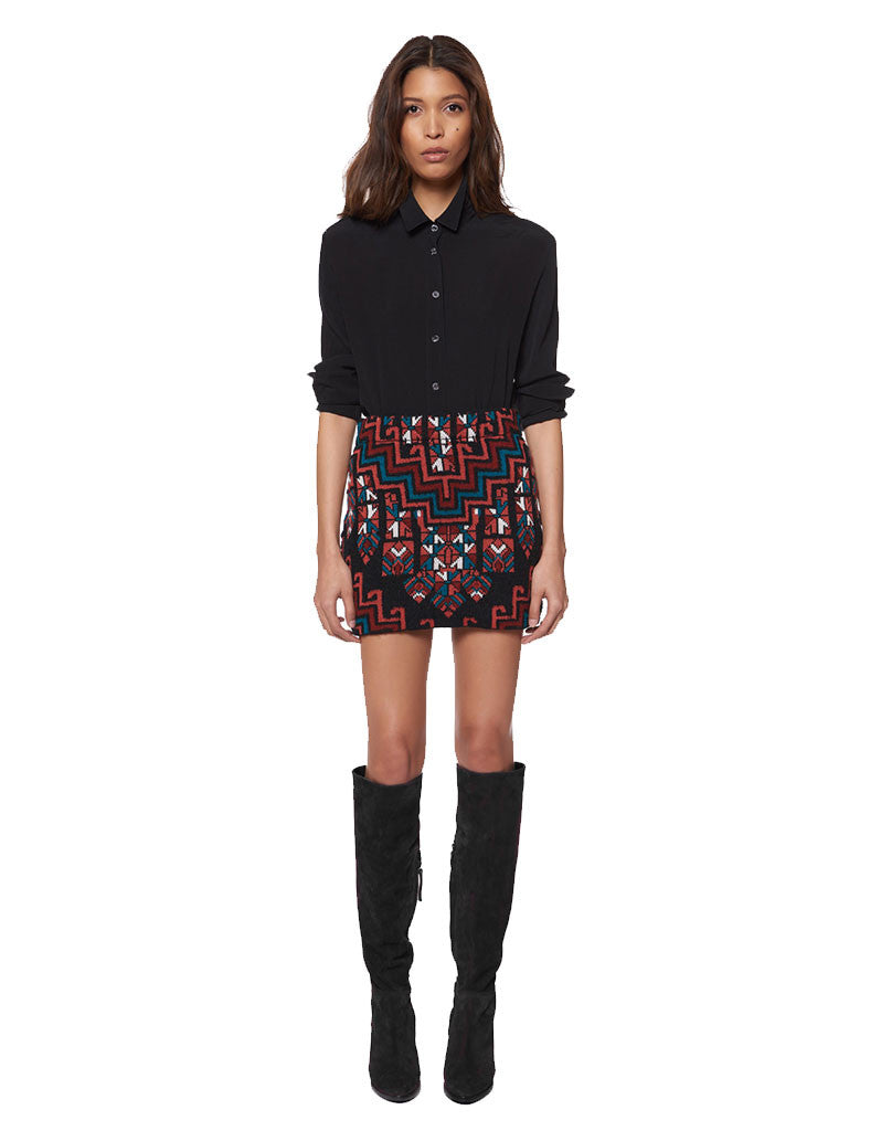 Mara Hoffman Knit Mini Skirt in Burgundy - SWANK - Skirts - 1