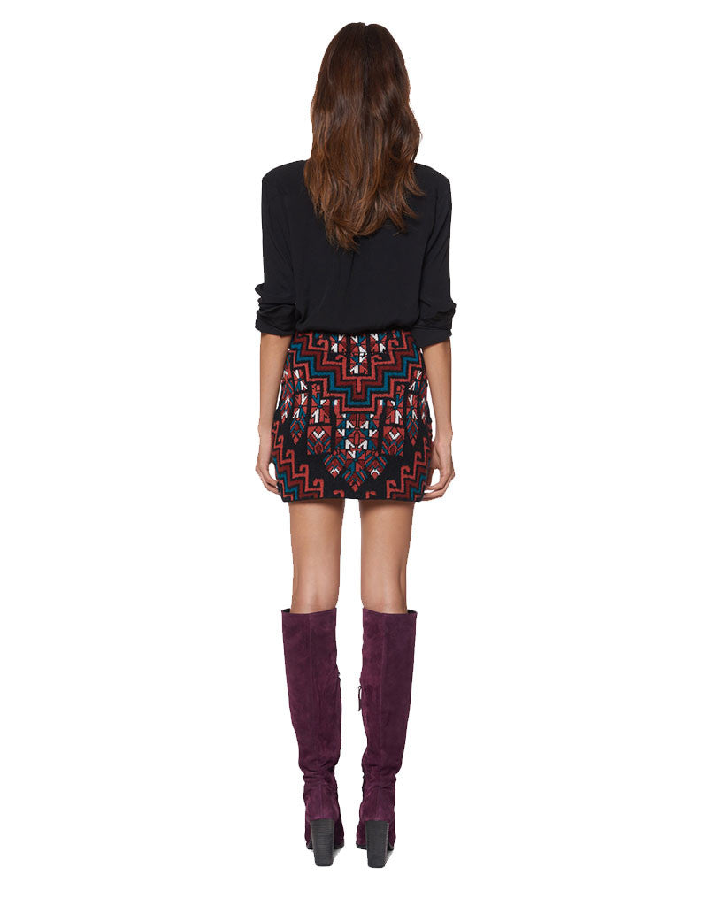 Mara Hoffman Knit Mini Skirt in Burgundy - SWANK - Skirts - 2