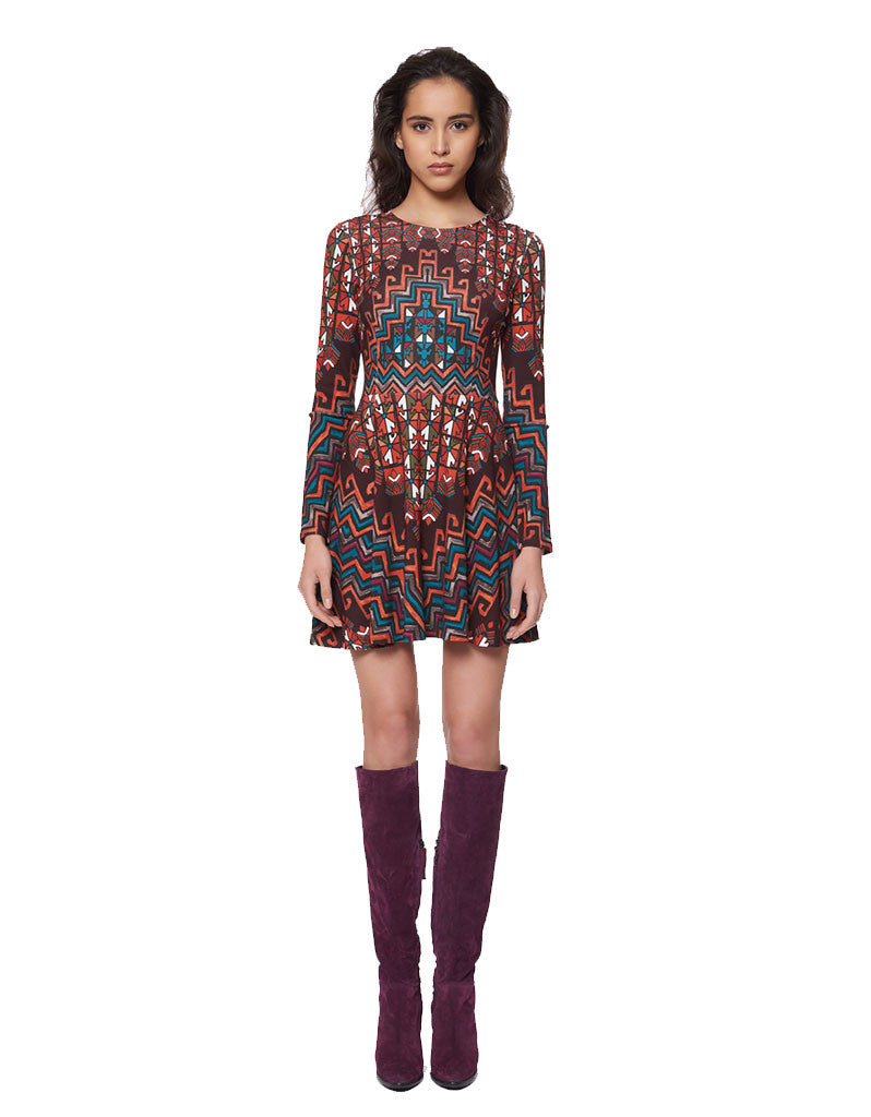 Mara Hoffman Rug Ponte Mini Dress in Orange Multi - SWANK - Dresses - 1