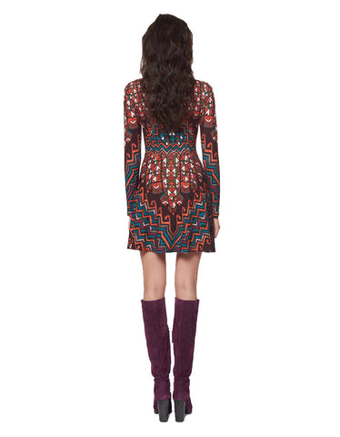 Mara Hoffman Rug Ponte Mini Dress in Orange Multi