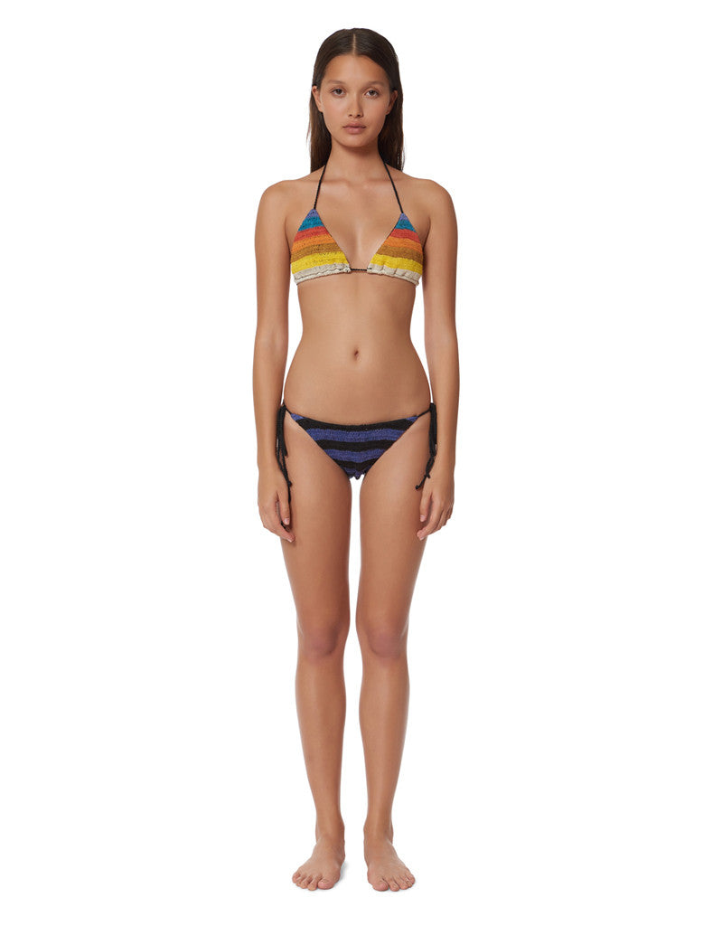 Mara Hoffman Stripe Crochet Tie Swim Bottom in Rainbow - SWANK - Swimwear - 2