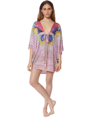 Mara Hoffman Radial Modal Poncho Dress in Lavender Gray