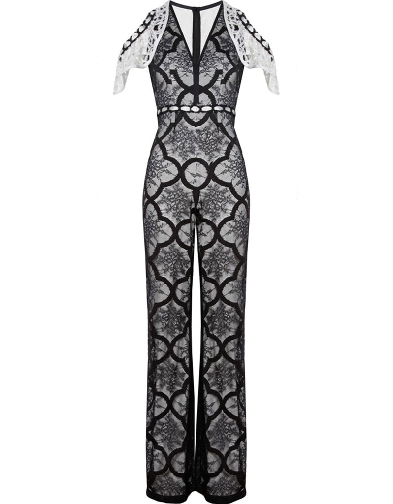Alexis Marella Jumpsuit in Black/White - SWANK - Jumpsuits - 1