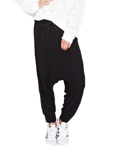 Michael Lauren Matteo Drop Crotch Pant in Jet Black