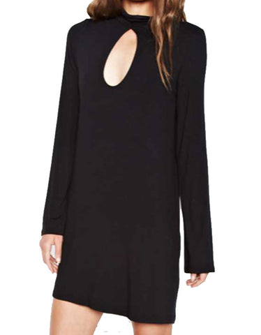 Michael Lauren Mercury Bell Sleeve Keyhole Dress in Black
