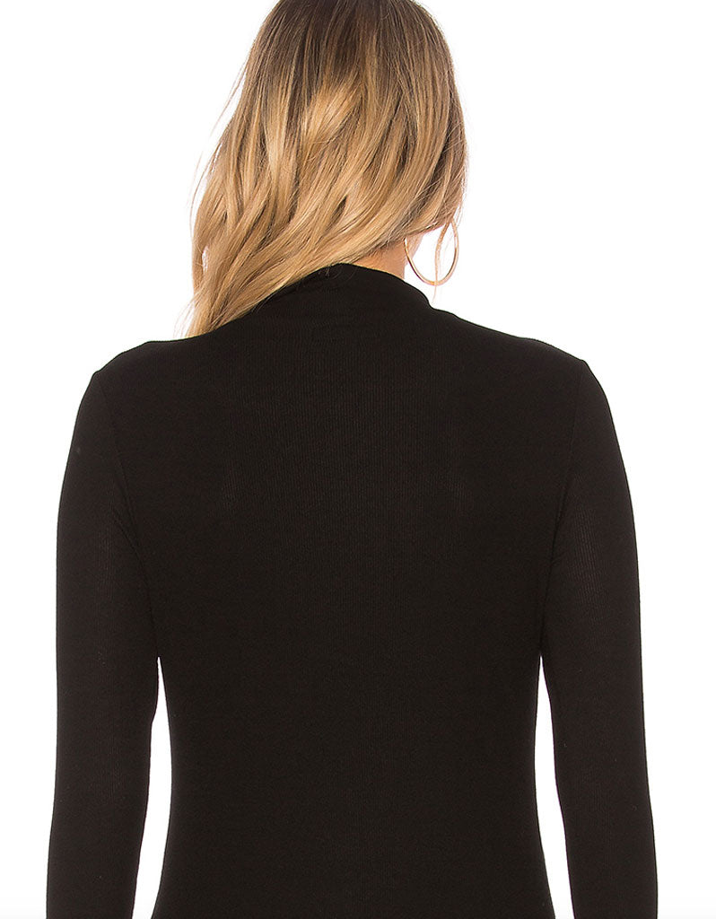Michael Lauren Laurence Mock Neck Cut Out Top in Black