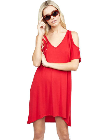 Michael Lauren Stable Open Shoulder Dress in Cardinal Red