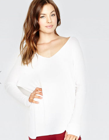 Michael Lauren Hyde Draped Top in White