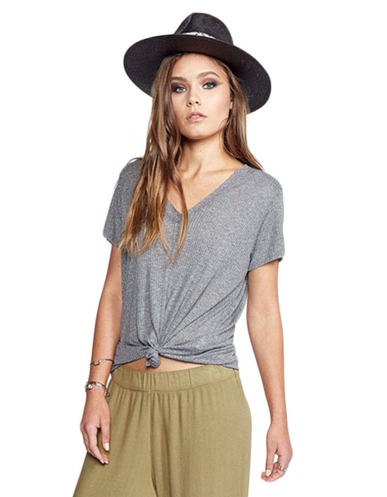 Michael Lauren Miller V-Neck Tee in Heather Grey