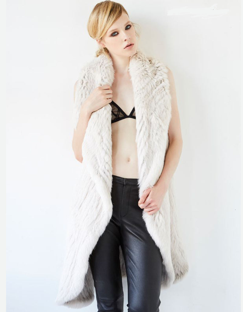 Arielle Mix It Up Rabbit Fur Vest in Stone - SWANK - Vest