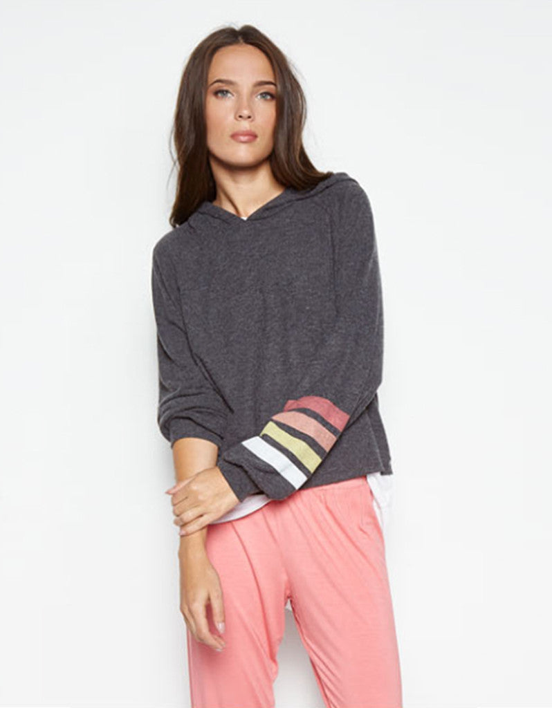 Michael Lauren Delaney Cropped Hoodie w/Stripe in Black