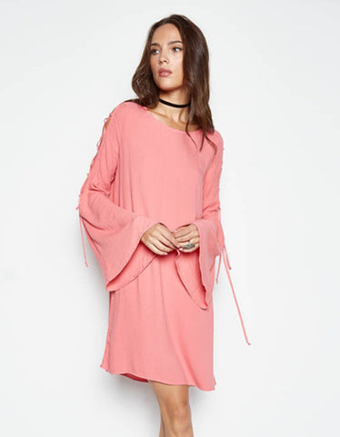 Michael Lauren Morrison Bell Sleeve Lace Up Dress in Primrose