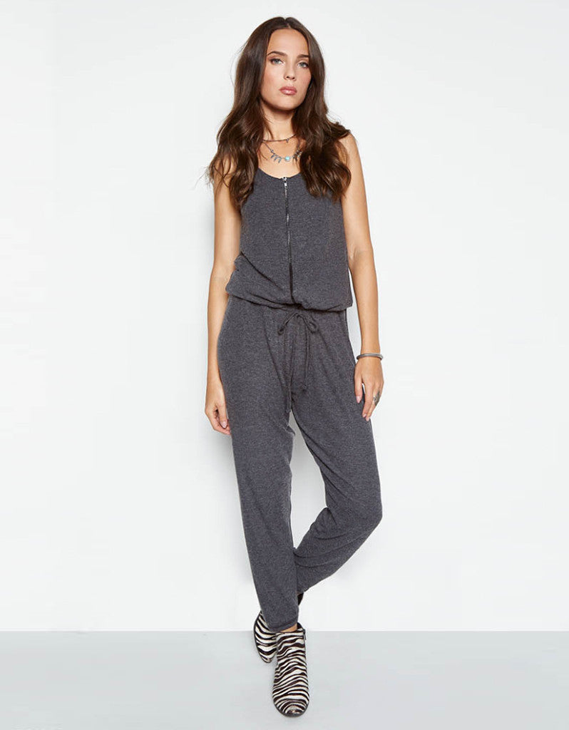 Michael Lauren Royal Tank Zipper Jumpsuit in Black