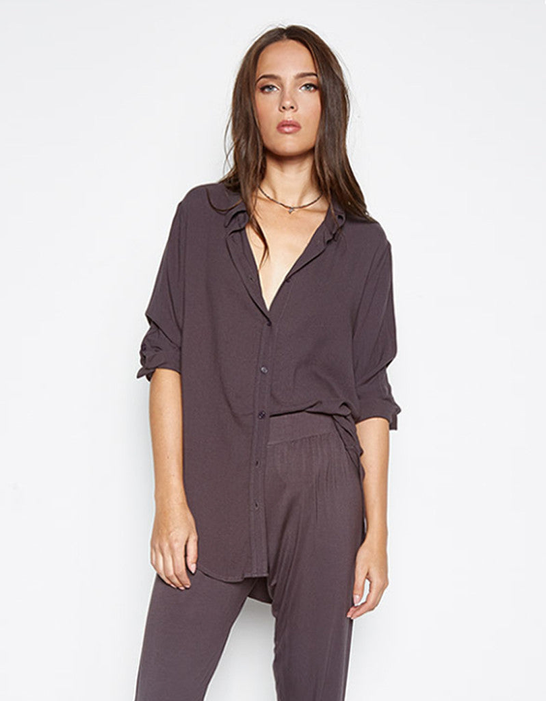 Michael Lauren Westbrook 3/4 Button Up Shirt in Viper