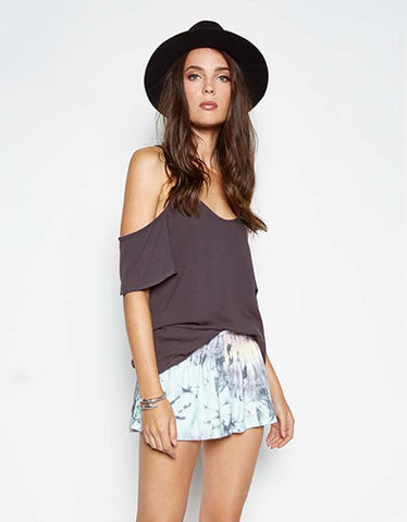 Michael Lauren Zion Open Shoulder Top in Viper