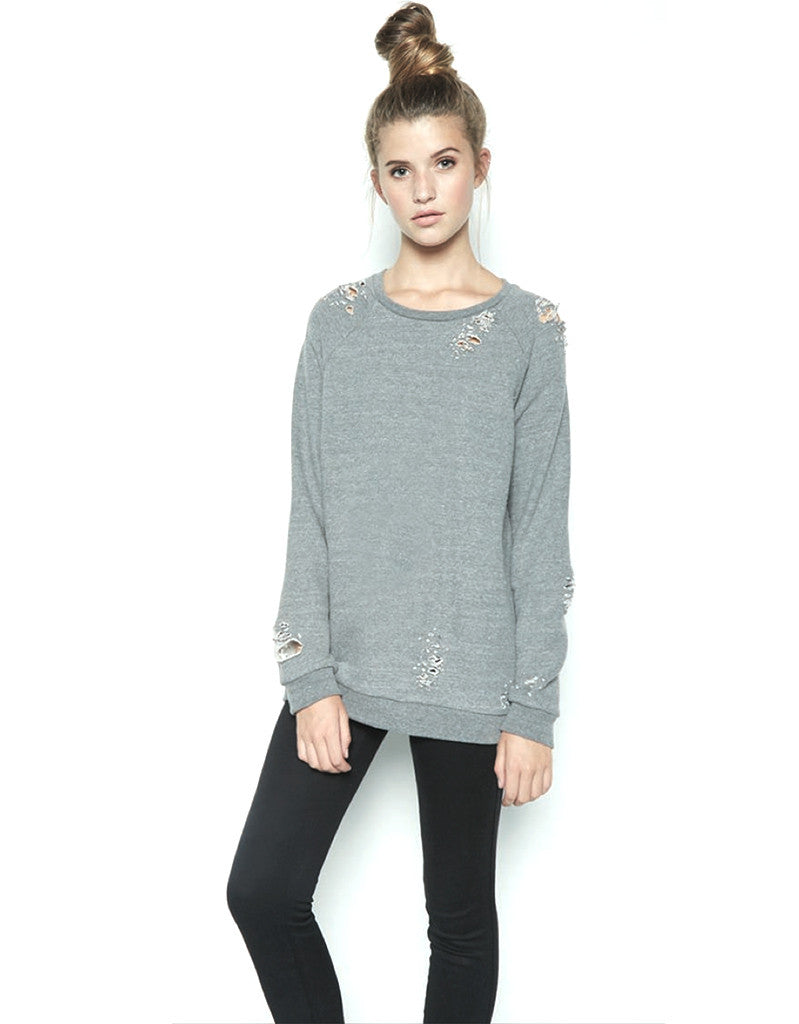 Michael Lauren Draco Oversized Distressed Pullover in Heather Grey - SWANK - Tops - 1