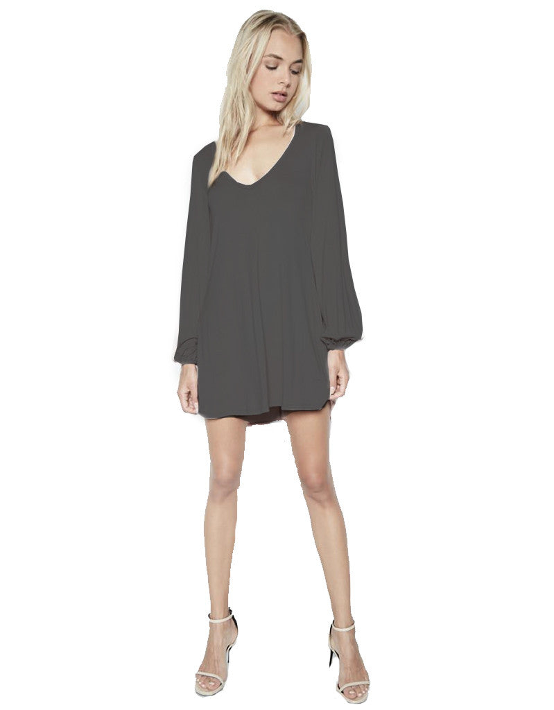 Michael Lauren Jeb L/S V Neck Dress in Caviar - SWANK - Dresses - 1