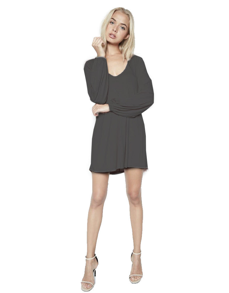 Michael Lauren Jeb L/S V Neck Dress in Caviar - SWANK - Dresses - 2