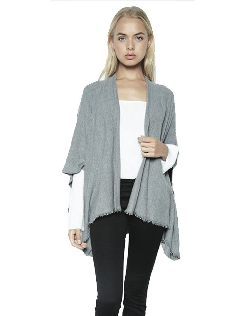 Michael Lauren Texas Fringe Wrap Sweater in Heather Grey - SWANK - Tops - 4