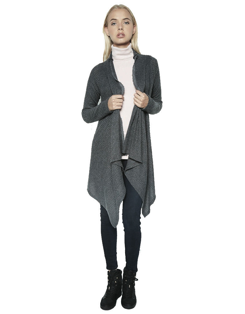Michael Lauren Vasco Wrap Cardigan in Black Charcoal Waffle - SWANK - Tops - 2