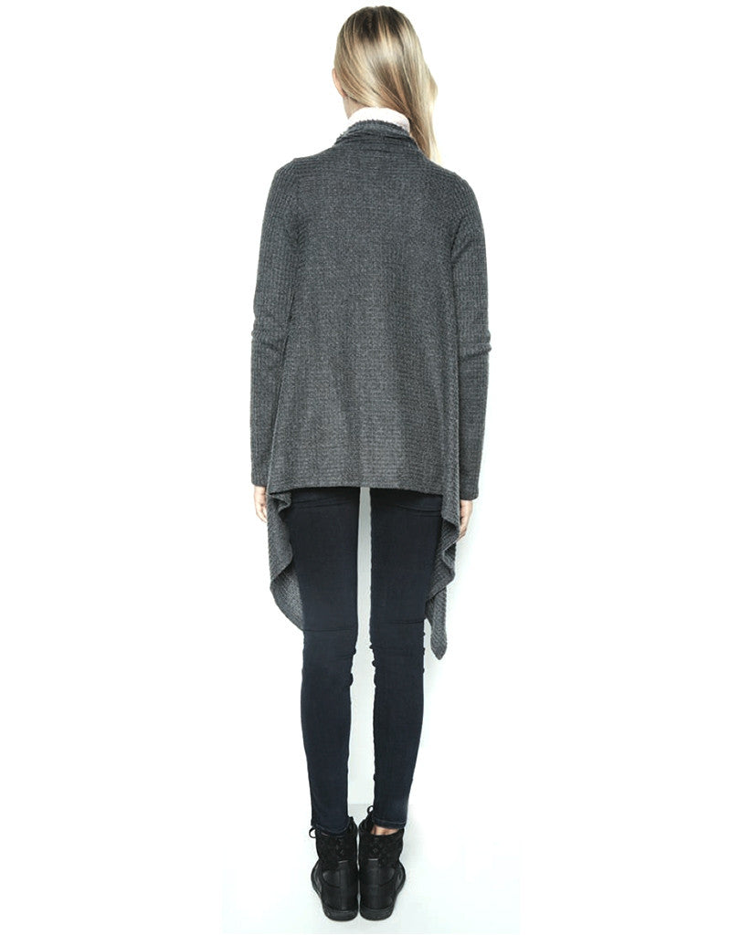 Michael Lauren Vasco Wrap Cardigan in Black Charcoal Waffle - SWANK - Tops - 3