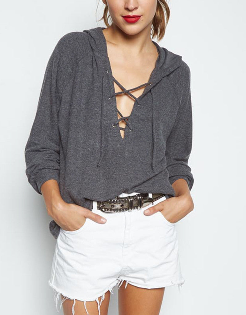 Michael Lauren Carson Lace Up Hoodie in Charcoal Black