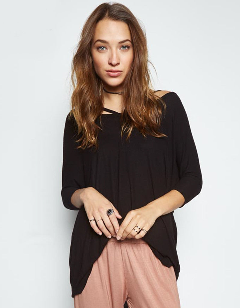 Michael Lauren Landry Cut Out Draped Top