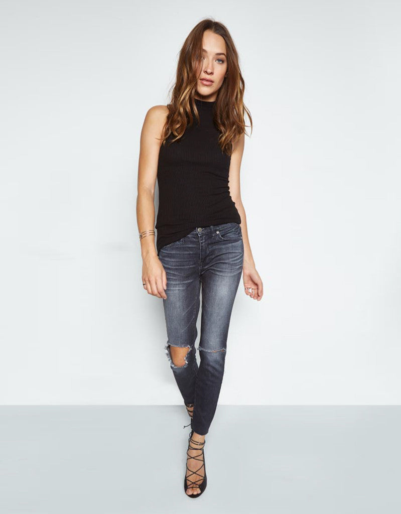 Michael Lauren Nixon Mock Neck Tank in Black