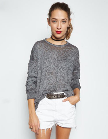 Michael Lauren Russell Drop Shoulder Pullover in Heather Grey Burnout