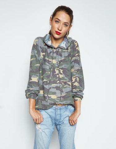 Michael Lauren Trevor Draped Pullover in Vintage Camo