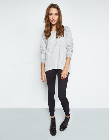 Michael Lauren Zuma Pullover w/Lace Up Back in Heather Grey