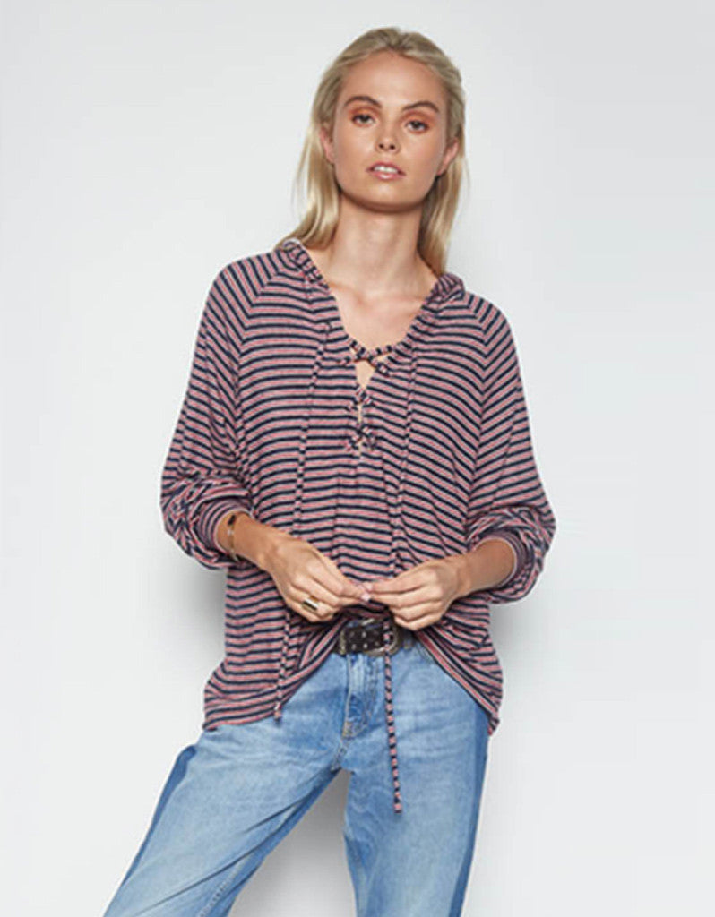 Michael Lauren Carson Lace Up Hoodie in Navy Stripe