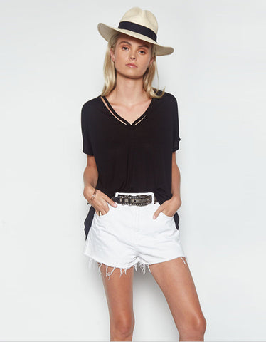Michael Lauren Crew Oversized V-Neck Tee in Black