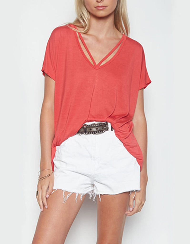Michael Lauren Crew Oversized V-Neck Tee in Coral Red