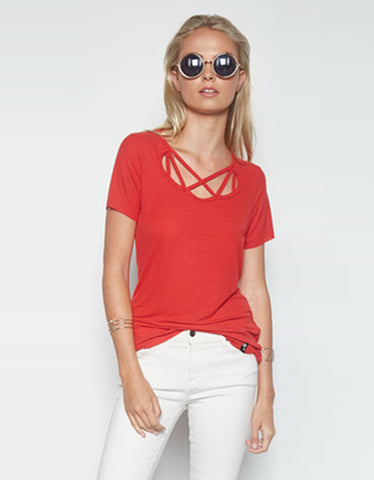 Michael Lauren King Tee in Coral Red