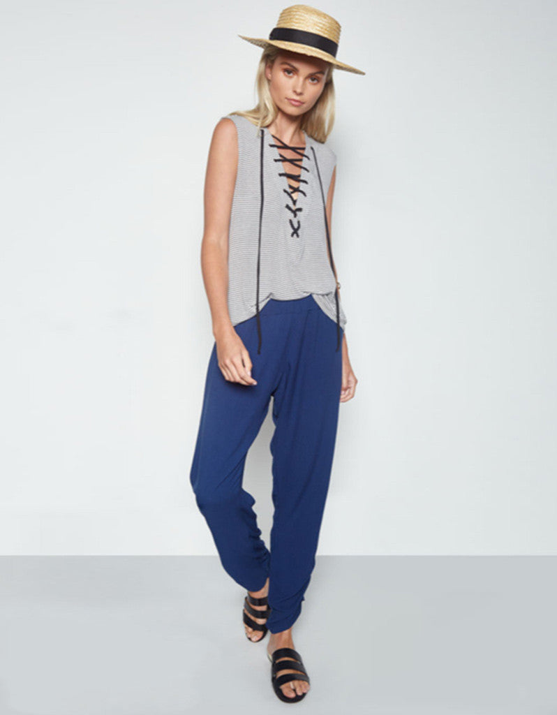 Michael Lauren Kylo Lace Up Front Tank in Charcoal Stripe