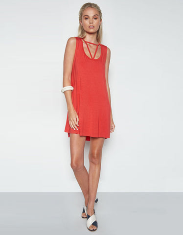 Michael Lauren Mackay Cut Out Dress in Coral Red