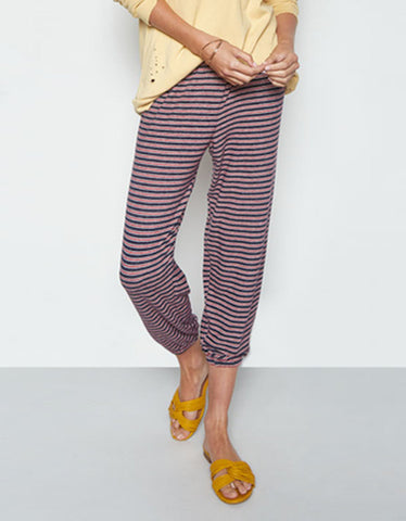 Michael Lauren Nate Crop Sweatpant in Navy Stripe