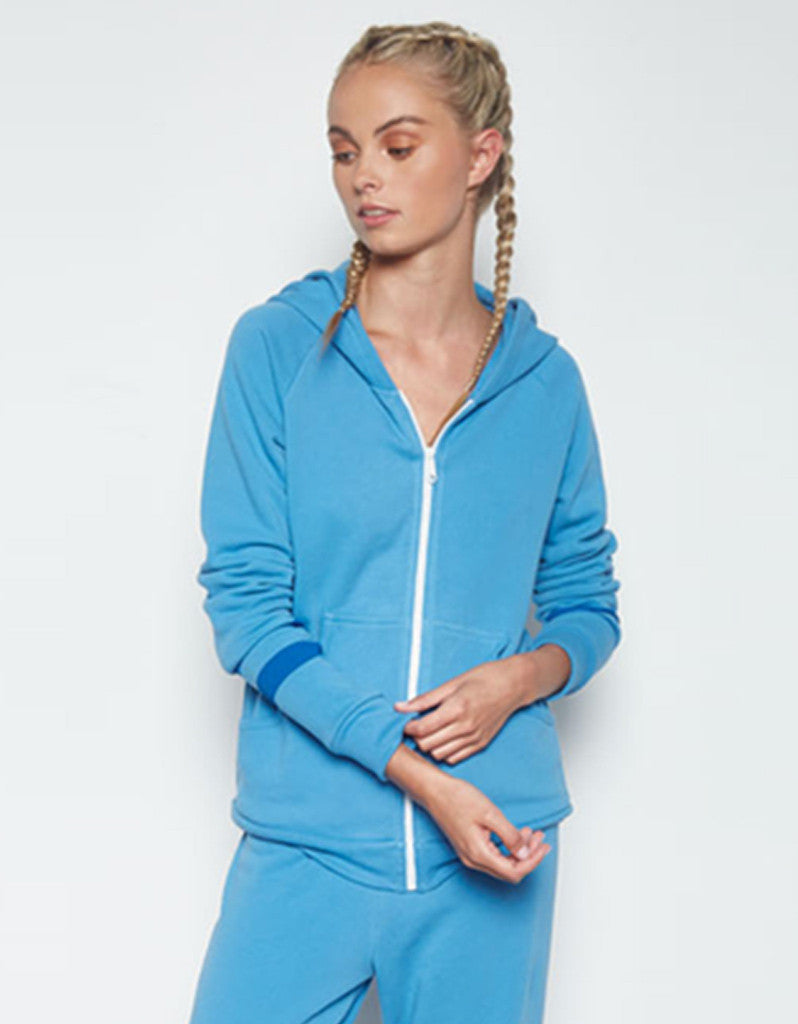 Michael Lauren Paris Fitted Zip Up Hoodie w/Stripe in Chill Out