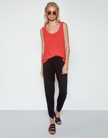 Michael Lauren Ray Tank in Coral Red