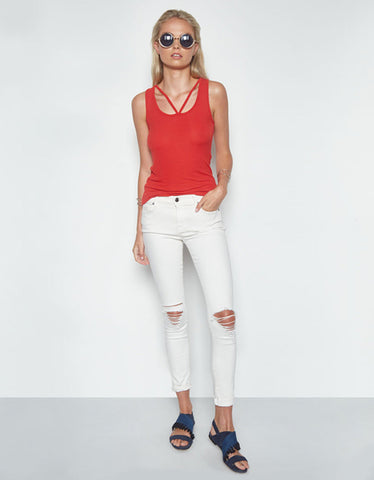 Michael Lauren Royce Cutout V-Neck Tank in Coral Red