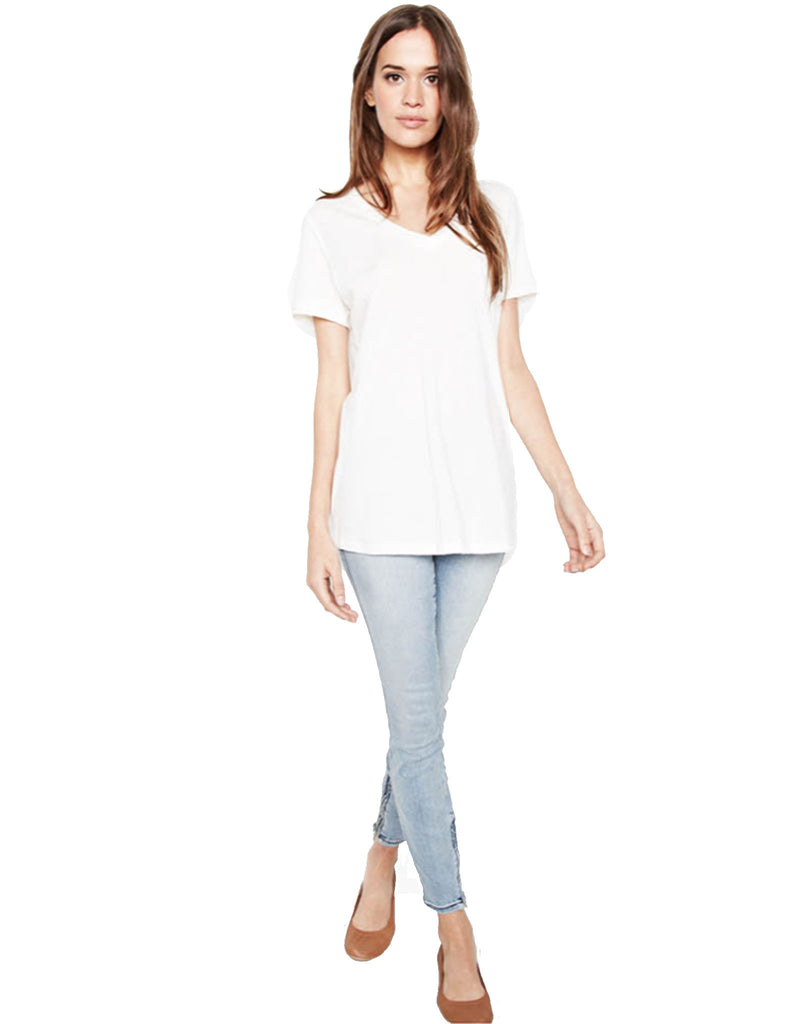 Michael Lauren Apollo V-Neck Tee in White and Black - SWANK - Tops - 2