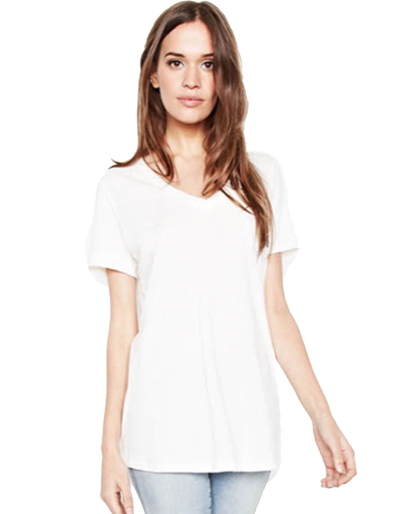 Michael Lauren Apollo V-Neck Tee in White and Black - SWANK - Tops - 1