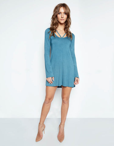 Michael Lauren Bailor Cut Out Neck Dress in Tidepool