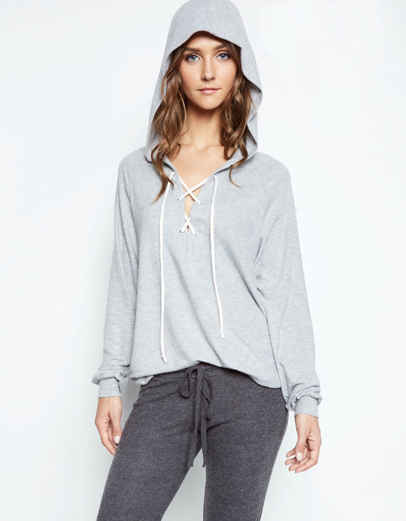 Michael Lauren Carson Lace Up Hoodie in Heather Gray - SWANK - Tops - 1