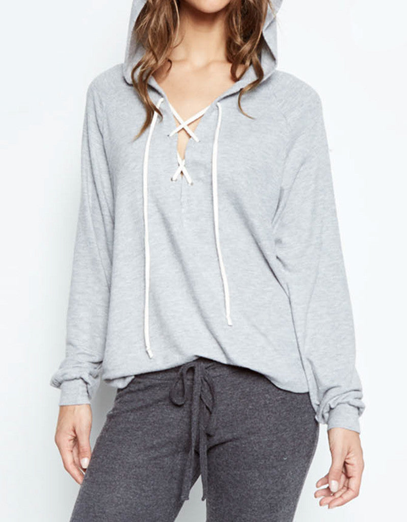 Michael Lauren Carson Lace Up Hoodie in Heather Gray - SWANK - Tops - 2