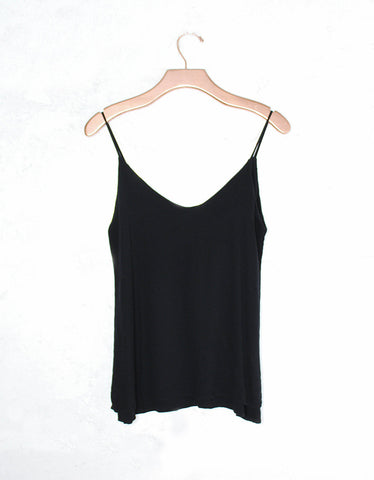 Michael Lauren Clayton Spaghetti Tank in Black