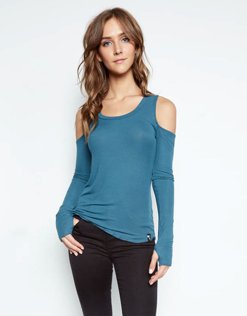 Michael Lauren Filippo Open Shoulder Scoop Neck Top in Tidepool - SWANK - Tops - 1
